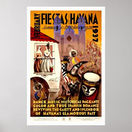Fiestas in Havana Vintage Travel Poster