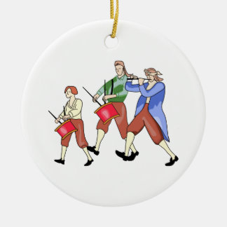 FIFE AND DRUM BAND ROUND CERAMIC DECORATION