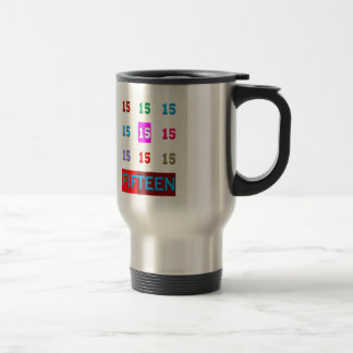 Fifteen 15th Birthday Anniversary Age Room Game 15 Oz Stainless Steel Travel Mug