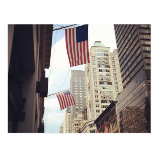 Fifth 5th Avenue American Flags NYC New York City Postcard