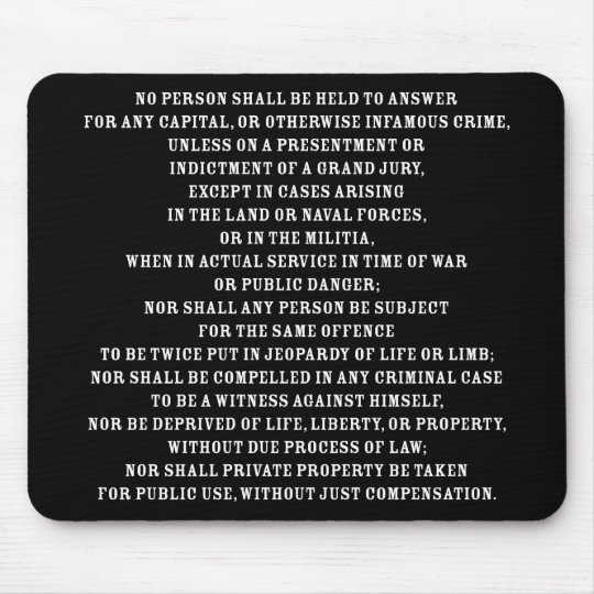 Fifth Amendent Text Mouse Pad