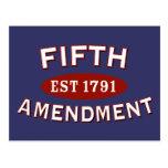 Fifth Amendment Est 1791 Postcard