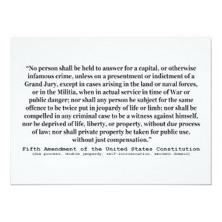 Fifth Amendment to the United States Constitution 14 Cm X 19 Cm Invitation Card
