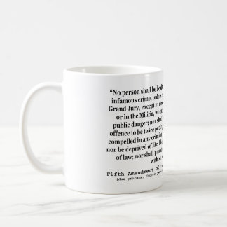 Fifth Amendment to the United States Constitution Basic White Mug