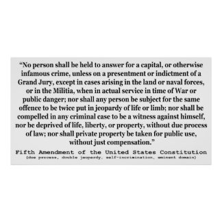 Fifth Amendment to the United States Constitution Poster