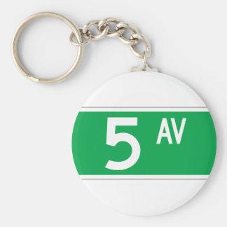 Fifth Av. (Old), New York Street Sign Basic Round Button Key Ring