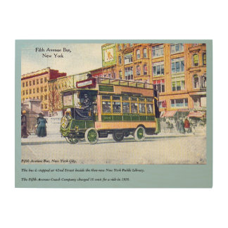 Fifth Avenue Bus at 42nd Street Library about 1920 Wood Canvas