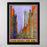 Fifth Avenue New York Art Deco Vintage Poster