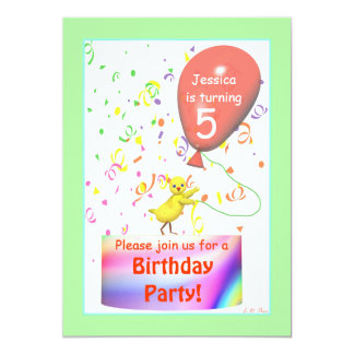 Fifth Birthday Party Chicken 5x7 Paper Invitation Card
