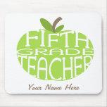 Fifth Grade Teacher Mousepad - Green Apple