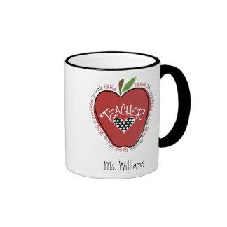 Fifth Grade Teacher Red Apple Ringer Mug
