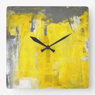 'Fifth' Grey and Yellow Abstract Art Square Wall Clock
