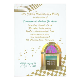 Fifties are Golden 13 Cm X 18 Cm Invitation Card