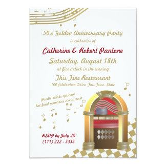 Fifties are Golden Anniversary Jukebox 13 Cm X 18 Cm Invitation Card