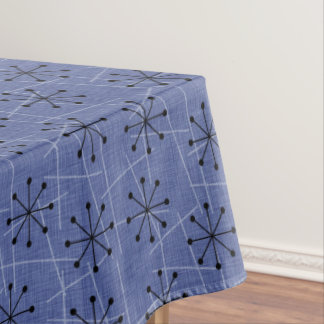 Fifties Blue with Black Starbursts | Atomic Retro Tablecloth