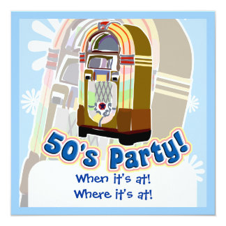 Fifties Party 5.25x5.25 Square Paper Invitation Card