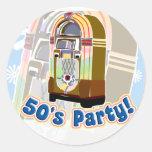 Fifties Party Round Sticker