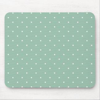 Fifties Style Grayed Jade Green Polka Dot Mouse Mat