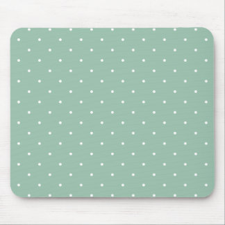 Fifties Style Grayed Jade Green Polka Dot Mouse Pad