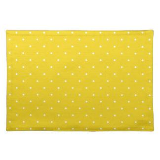 Fifties Style Lemon Yellow Polka Dot Place Mats