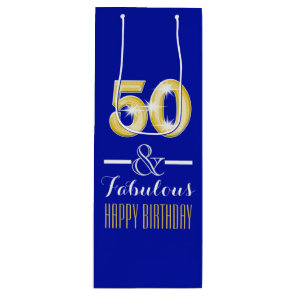 Fiftieth 50th birthday wine bottle wine gift bag
