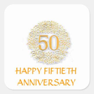 FIFTIETH ANNIVERSARY GOLDEN WHITE STICKERS