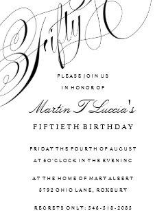 Fiftieth Birthday Party Invitation