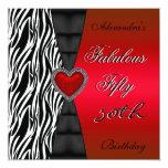 Fifty 50th Birthday Party Red Zebra Wild Black 2 Custom Invites