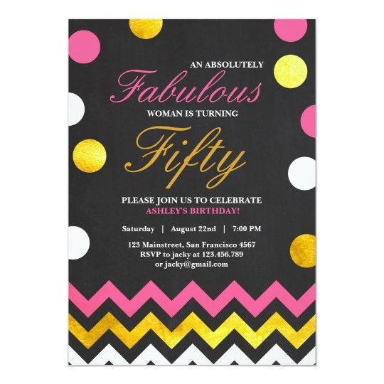 Fifty and Fabulous 50 Gold Pink Birthday invite