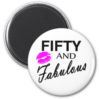 Fifty And Fabulous 6 Cm Round Magnet