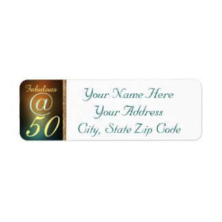 Fifty And Fabulous BDay Bash Party Celebration Return Address Label