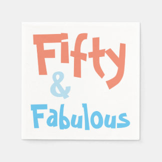 Fifty and Fabulous Birthday Party Napkins Disposable Serviettes
