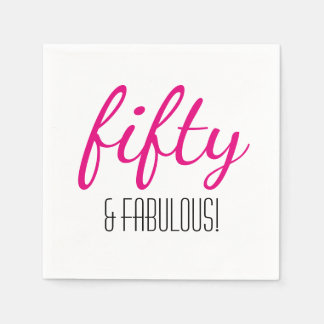Fifty and Fabulous Birthday Party Paper Napkins