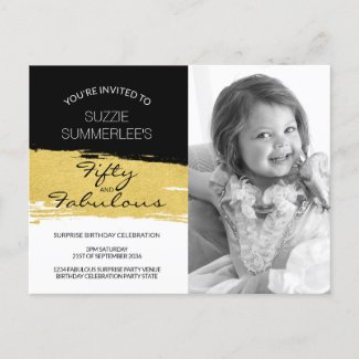 Fifty and Fabulous Birthday Photo Invitation Postcard