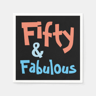 Fifty and Fabulous Black Birthday Paper Napkins