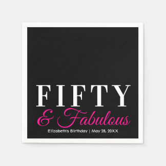 Fifty and Fabulous Elegant Hot Pink 50th Birthday Disposable Serviettes