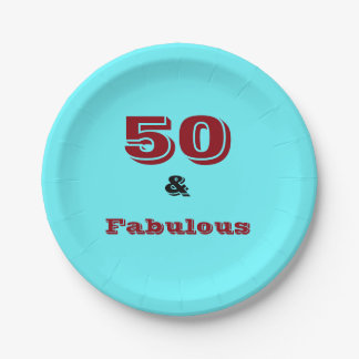 Fifty and Fabulous logo on coloured paper plate