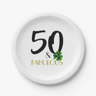 Fifty and Fabulous paper plate