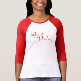 Fifty and Fabulous Red Typography Birthday T-Shirt