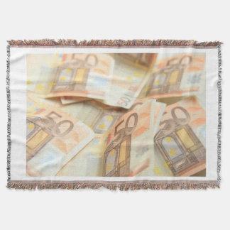 Fifty Euro Money Art Throw Blanket