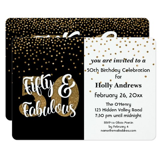 Fifty & Fabulous Gold Faux Glitter Birthday Party