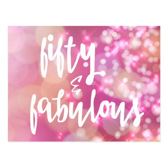 50th And Fab: Pink Glitter 50th Birthday Card