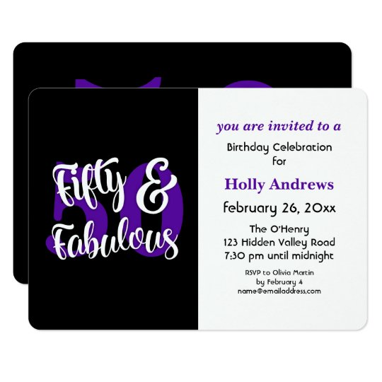 Fifty & Fabulous Purple Typography Birthday Party Card