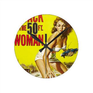 Fifty Foot Alien Women Round Clock
