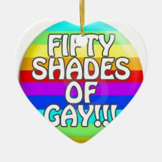 FIFTY SHADES OF GAY MULTI SHADE CERAMIC HEART DECORATION