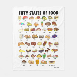 FIFTY STATES OF FOOD United States America USA Art Fleece Blanket