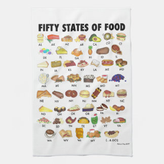 FIFTY STATES OF FOOD United States America USA Art Tea Towel