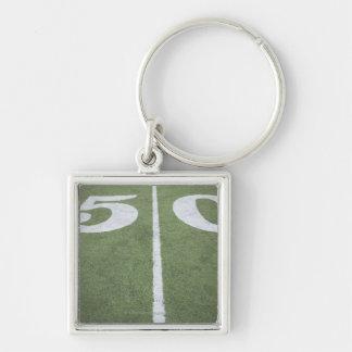Fifty yard line on sports field keychains