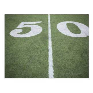 Fifty yard line on sports field postcard