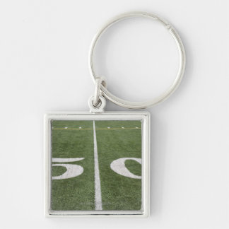 Fifty yard line Silver-Colored square key ring